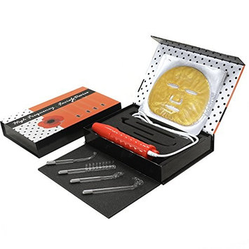 SNS Anti-Aging Portable High Frequency Facial Device Set, 4 Orange Electrodes, Gold Masks Set