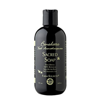 Benedetta Sacred Soap – Organic Biodynamic Fair Trade Botanical Black Soap Body Wash - 8 oz (240 ml)