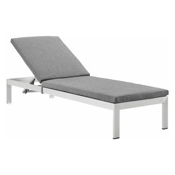 Modway EEI-2660-WHI-GRY Shore White & Gray Outdoor Aluminum Patio Chaise with Cushions