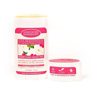 Live Beautifully Natural Deodorant - Berry Lime Green Tea - Aluminum Free