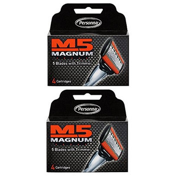 Personna M5 Magnum 5 Refill Razor Blade Cartridges, 4 ct. (Pack of 1) + FREE Luxury Luffa Loofah Bath Sponge On A Rope, Color May Vary
