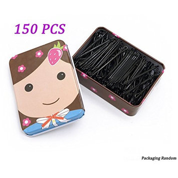 150 pcs Black Hair Grips Clips Bobby Kirby Pins Clamps Salon Waved Slides
