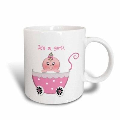 3dRose Cute Pink Polka dot Its a Girl Baby Buggy Stroller, Ceramic Mug, 15-ounce