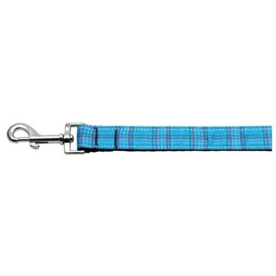 Mirage Pet Products 125013 1006BL Plaid Nylon Collar Blue 1 wide 6ft Lsh