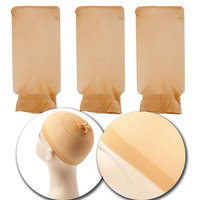 Set Kit of 3pcs Stretchable Plain Design Wigs Caps Breathable Elastic Hair Stockings In Neutral Skin Flesh Color