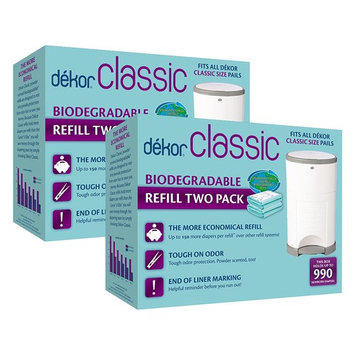 Dekor Classic Diaper Pail Biodegradable Refills | Most Economical Refill System | Quick and Simple to Replace | No Preset Bag Size – Use Only What You Need | Exclusive End-of-Liner Marking | 4 Count