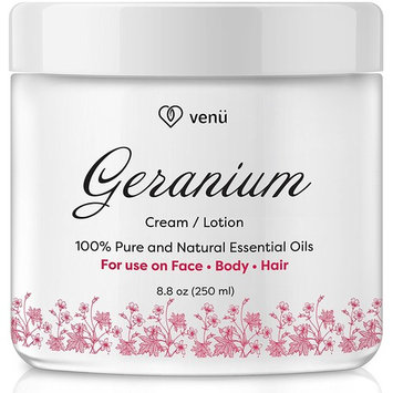 Geranium Oil Cream Lotion – Nourishing Essential Oil Moisture Rich Body Lotion – 100% Pure and All Natural – For Skin, Hair and Body – by Venu