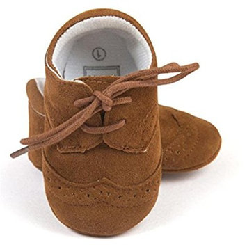 San Bodhi Baby Toddler Soft Sole Leather Shoes Infant Boy Girl Toddler Shoes brown [12 cm]