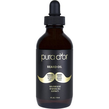 PURA D'OR Organic Beard Oil 4oz (VALUE SIZE) 100% Pure & Natural Leave In Conditioner and Softener for Groomed Beard Growth, Mustache, Face and Skin for Men
