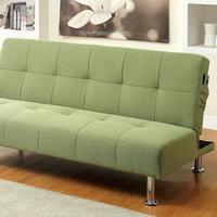Benzara Dewey Contemporary Futon Sofa With Side Pockets, Green Flax Fabric