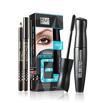 Clearance! Eyelash Make Up Kit, 1pc 3D Fiber Waterproof Eye Lashs Volumizing Mascara + 2pc Eye Pencil