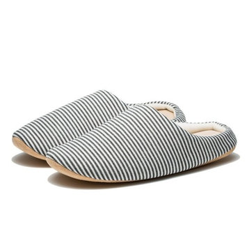 BeiBestCoat Bicolor Stripe Household Slippers Soft and Warm Cotton Slippers (S(38-39), white)