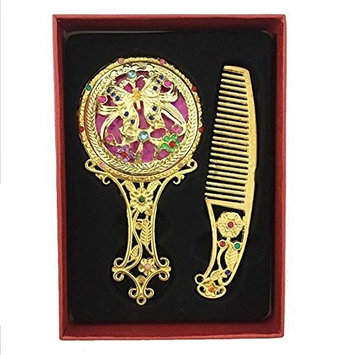 Cosmetic Mirror Comb Suit - TOOGOO(R)Hot Style Antique Plated Hollow Handle Metal Cosmetic Mirror Comb Suit