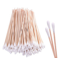 100 Count 6 Inch Long Cotton Swabs with Wooden Handle Sticks for Gun Cleaning, Polishing Jewelry, Arts, and Crafts, Cleaning Electronics
