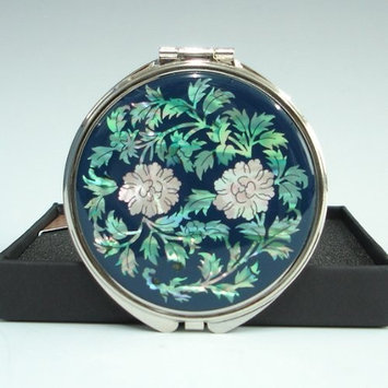 Mother of Pearl Peony Flower Design Blue Double Compact Magnifying Purse Mirror