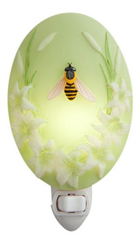 Ibis & Orchid Honey Bee and Lillies Night Light Bonded Marble