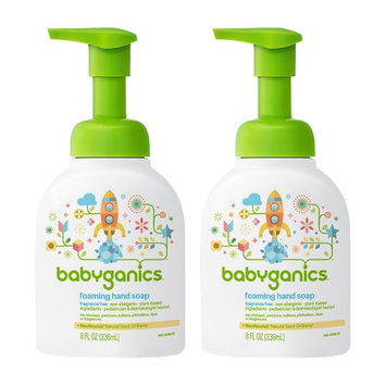 Babyganics Foaming Hand Soap, Fragrance Free, 8.45oz Pump Bottle (Pack of 2)