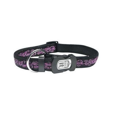 Dogit Style Urban Edge Medium Adjustable Nylon Collar with Plastic Snap, 5/8-Inch by 12-Inch to 18-Inch, Purple Design on Black Nylon