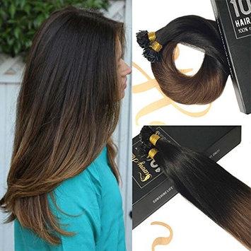 Sunny 14inch Flat Tip Hair Black Ombre Dark Brown Hair Extensions Real Hair 100% Human Hair Fusion Hair Extensions Flat Tip 50g/set []