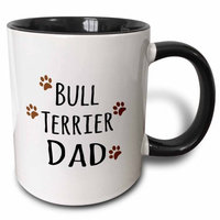 3dRose Bull Terrier Dog Dad - Doggie by breed - brown muddy paw prints love - doggy lover - proud pet owner, Two Tone Black Mug, 11oz