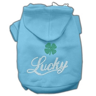 Mirage Pet Products Lucky Rhinestone Hoodies, Baby Blue, XX-Large/Size 18