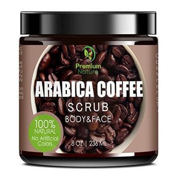 Exfoliating Arabica Coffee Body Scrub - Best Skin Exfoliator for Face Hand Lip & Body with Sea Salt & Shea Butter, Acne & Eczema Treatment, Exfoliate Moisturize, Stretch Mark Scar