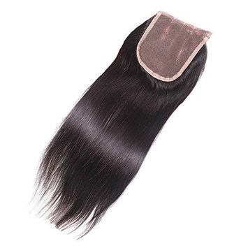 Elva Hair Three Part Straight Lace Closure Bleached Knots Brazilian 3.5