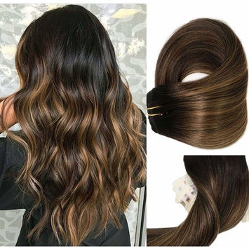 Clip In Human Hair Extensions Thicken Double Weft 9A Brazilian Hair 120g 7pcs Natural Black to Chestnut Brown Highlight Black Full Head Silky Straight 100% Human Hair Clip In Extensions 20 Inch