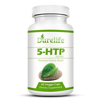5-HTP Supplement 200 mg Per Veggie Capsule By DureLife, 60 count, Time Release With Vitamin B6 To Pr