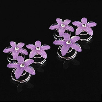 Aysekone 6 Pcs/Pack Five Purple Petals Flower Bridal Hair Pin Twister Coil Spiral with Rhinestone Crystal for Wedding, Prom, Party and Special Event