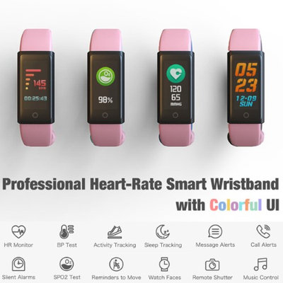 Fitness Bracelet and Health Tracker by Indigi - OLED Display - Bluetooth Sync - Heart Rate Sensor + Blood Pressure & Ped