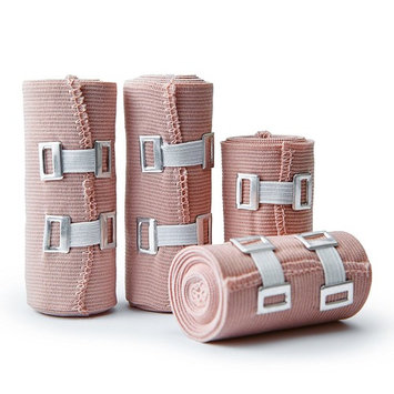 Premium Elastic Bandage Wrap Compression Roll, Set of 4 Pack FDA Approved Polyester Cotton. Two Rolls of Each Size, 4 Inch x 5 Feet & 3 Inch x 5 Feet with Hook and Loop Closure