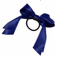2016 Hair Accessories 1Pc Women Tiara Satin Ribbon Bow Hair Band Rope Scrunchie Ponytail Holder Dark Blue