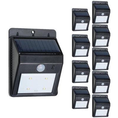 Yescomusa 1/2/10 Pack 4 LEDs Solar Power Security PIR Motion Night Sensor Light Waterproof Outdoor Garden Lamp