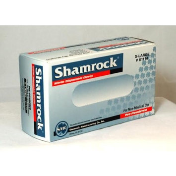 Shamrock 81113 Powdered General Purpose Textured Blue 9 inch Nitrile Large Industrial Gloves - Sold by the Case