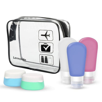 Lermende Portable Soft Silicone Travel Bottles Containers Set with Clear Toiletry Bag TSA Approved Carry On Airport Airline Compliant Bag Quart Sized Leakproof Pouch (With 3 Bottles & 2 Jars)