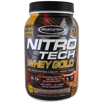Muscletech, Nitro Tech, 100% Whey Gold, Chocolate Peanut Butter, 2.50 lbs (1.13 kg) [Flavor : Chocolate Peanut Butter]
