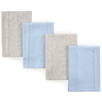 Babyvision Inc. Touched by Nature Baby Boys' 4-Pack Organic Burp Cloths, Blue/Gray