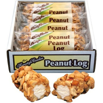 Crown Candy Peanut Log - 12 Individually Wrapped 3 oz Peanut Logs Per Box [Peanut Log]