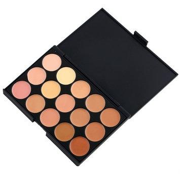 AMarkUp 15 Colors Concealer Makeup Cream Care Camouflage Contour Palette + Sponge Puff + Oblique Head Foundation Brush
