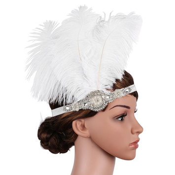 BABEYOND Vintage 1920s Flapper Headband Great Gatsby Headpiece Roaring 20s Feather Headband 1920s Great Gatsby Flapper Hair Accessories