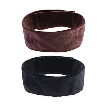 BCP 2PCS 21.5inch Black & Brown Elastic Velvet Wig Grip Band Adjustable Head Hair Band