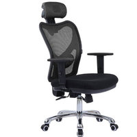 LSCING High-Back Comfortable Mesh Office Chair with Adjustable Headrest, Armrest and Lumbar Support, Black