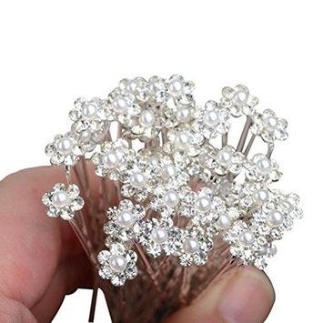 WINOMO 10pcs Bridal Flower Pearl Rhinestone Hairpins Hair Clips (White + Silver )
