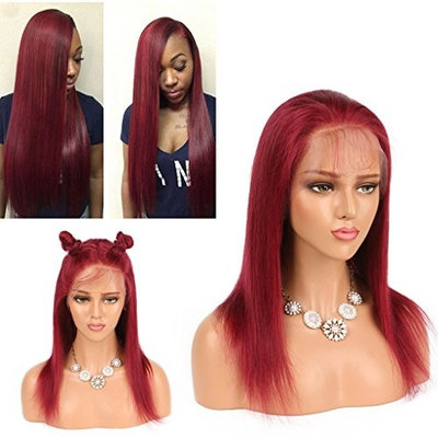 Nobel Hair Ombre 99J Red Color Lace Front Human Hair Wigs for Black Women Straight Brazilian Virgin Preplucked Hairline Human Hair Wigs Glueless Lace Wigs 24 inch