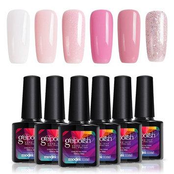 Modelones 6pcs Soak Off UV LED Gel Nail Polish Colors Set White Glitter Pink Gel Nail Starter Kit
