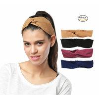 Headbands for Women, No Slip Faux Suede Turban Solid Cross Head Wraps Doloveit Fashion headbands(4 Pack)