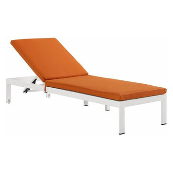 Modway EEI-2660-WHI-ORA Shore White & Orange Outdoor Aluminum Patio Chaise with Cushions