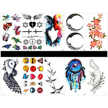 GGSELL GGSELL 10pcs tattoo swallow temporary tattoos in one packages,including cute cartoon animal,totem,lover,flowers,bird,cartoon faces,swallow,wolf,wreath,etc.