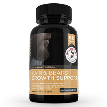 GRIZZLY ADAM Hair and Beard Growth Supplement - Vitamins For a Bigger Better Looking Beard